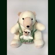 Медведица с детенышем. Плед, игрушка, подушка