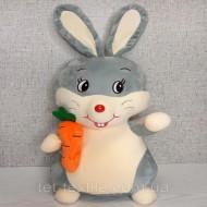 Зайчик с морковкой. Плед, игрушка, подушка
