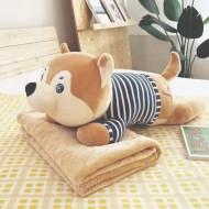 Собачка в тельняшке. Плед, игрушка, подушка